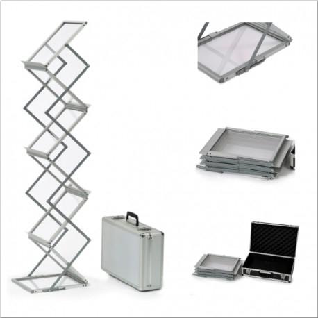 Stojak na ulotki Z-shape (Aluminiowy kufer)